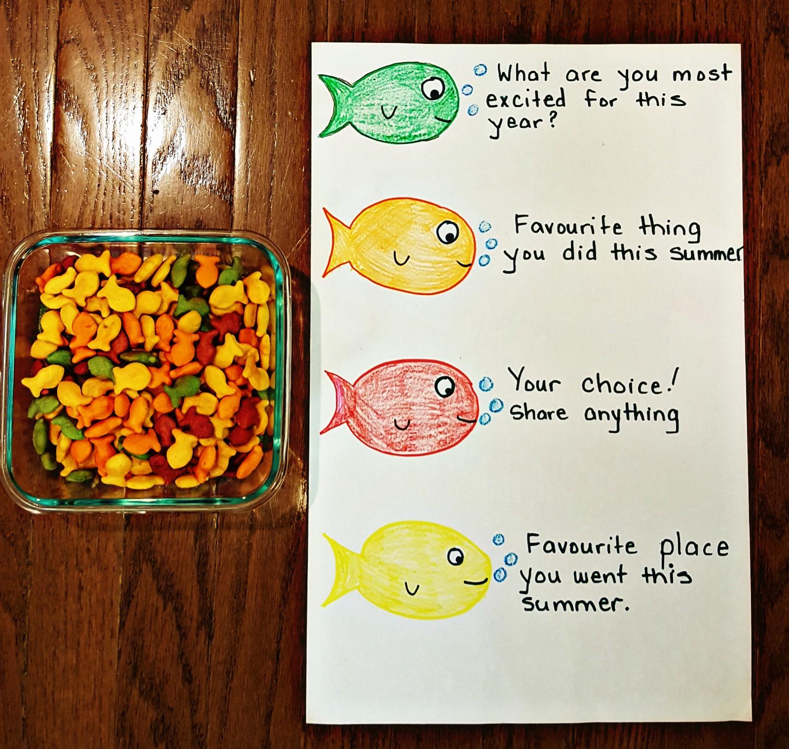 First Day of School Activity - Goldfish Icebreaker - Hands