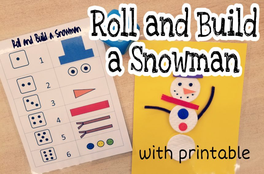 Kindergarten Worksheets – Roll and Build a Snowman
