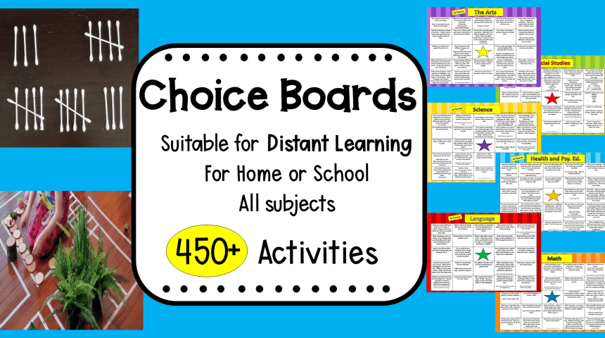 Homeschool and Distant Learning Choice Boards