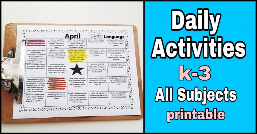Homeschool – Daily Activities