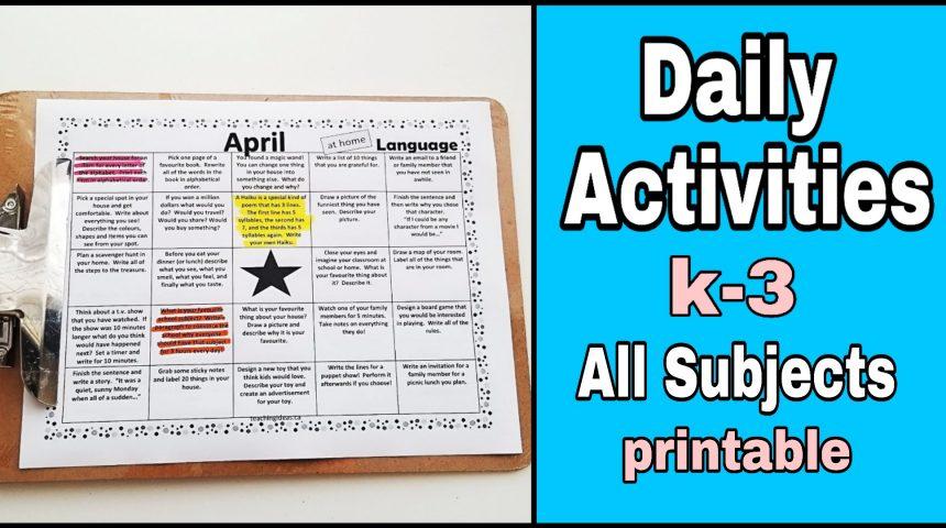 Homeschool – Daily Activities